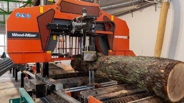 WB2000 industrial sawmill for heavy logs processing at FAGUS company
